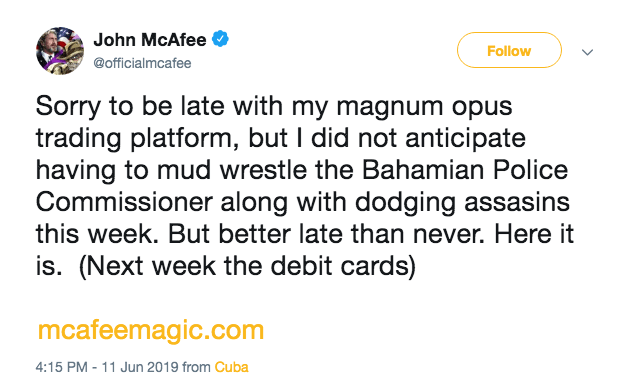 McAfee Magic debit cards