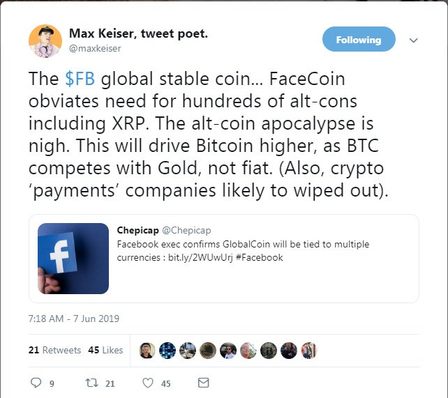 Facebook's GlobalCoin cryptocurrency will destroy Ripple, boost Bitcoin