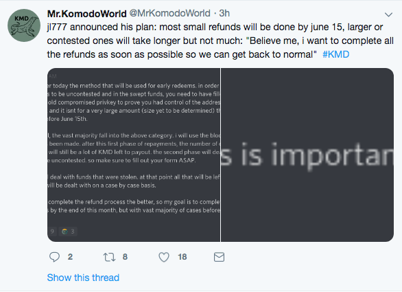 Komodo refunds. Hacks its users.