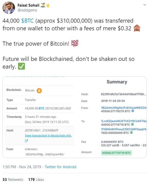 Bitcoin multi-million dollar transfer